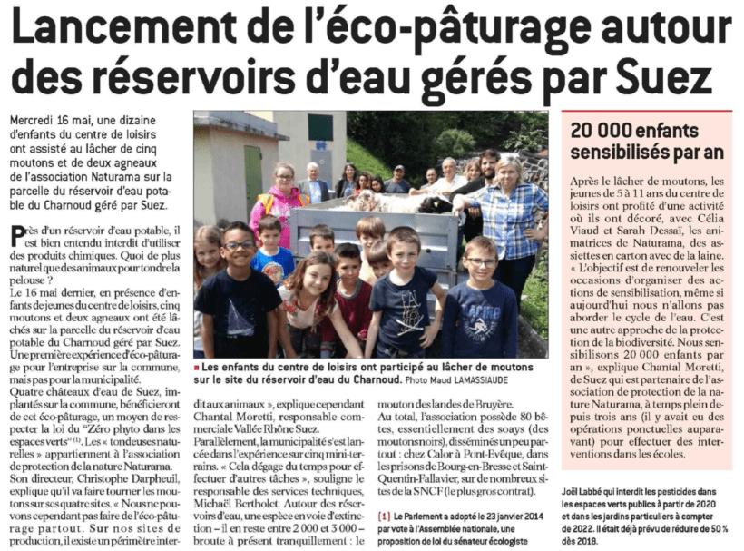 Eco-pâturage autour des réservoirs d'eau Suez